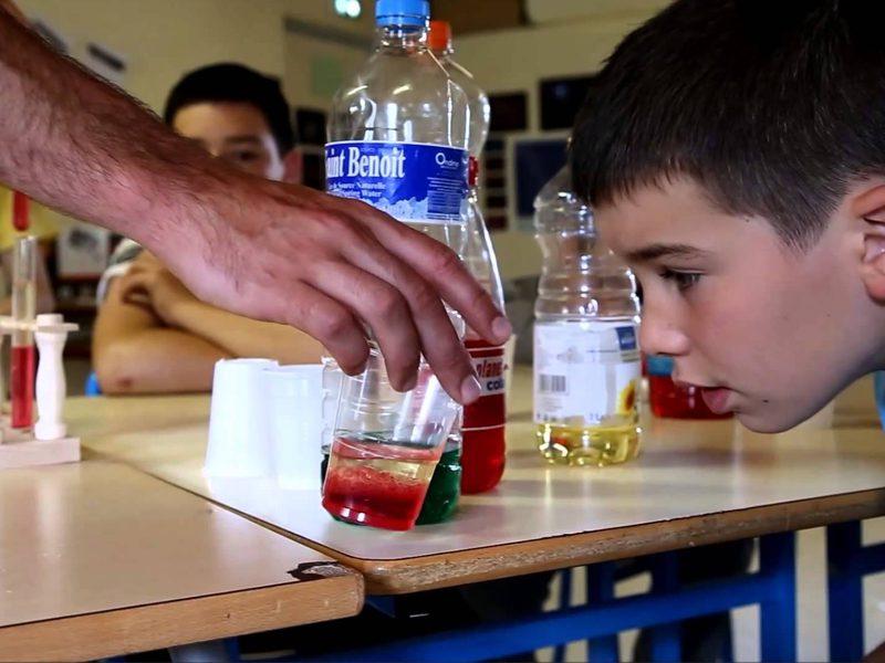 Enfant observant une expérience scientifique dans un verre en colonie de vacances d'été