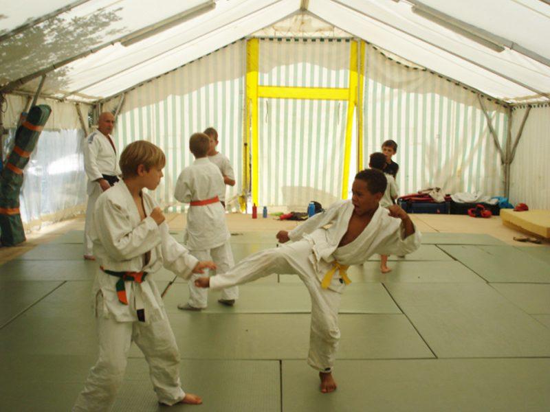 adolescents jouant au judo en colonie de vacances sportives