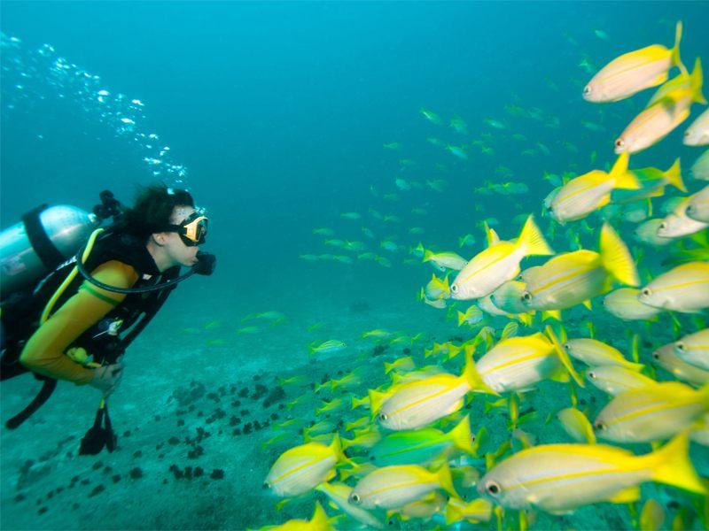Adolescent faisant un baptême de plongée en colonie de vacances en Corse