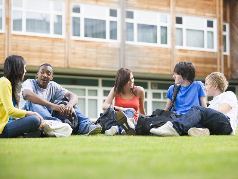 Groupe d'adolescents assis dans l'herbe en colo