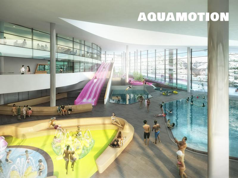 Enfants se baignant à Courchevel à Aquamotion en colonie de vacances