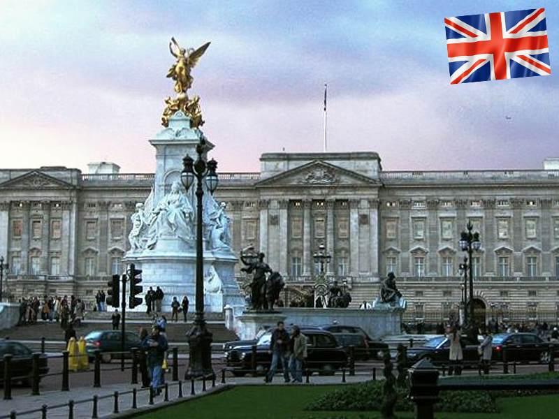 Vue sur l'entrée de Buckingham Palace en Angleterre
