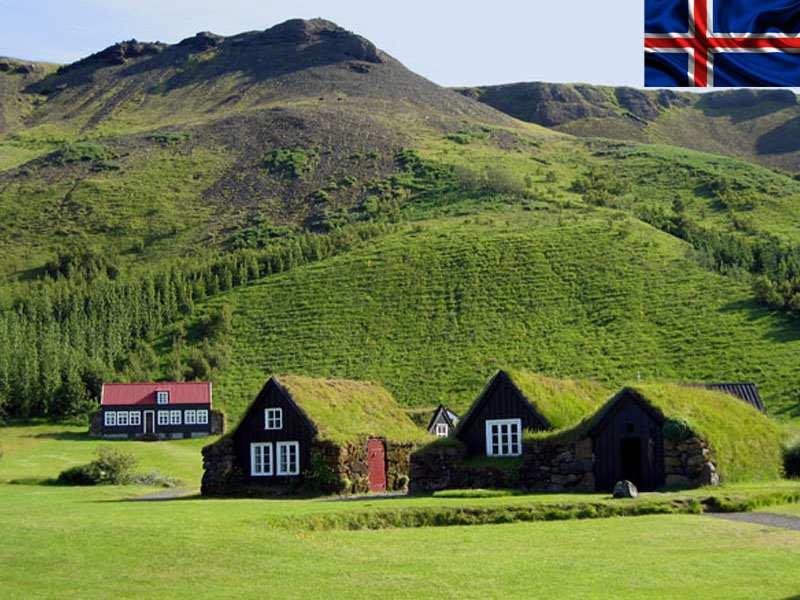 Maisons islandaises aperçues en colonie de vacances d'été pour ados en Islande