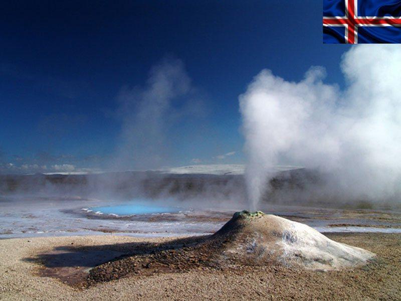 Geyser en Islande pendant une colonie de vacances en Islande pour ados
