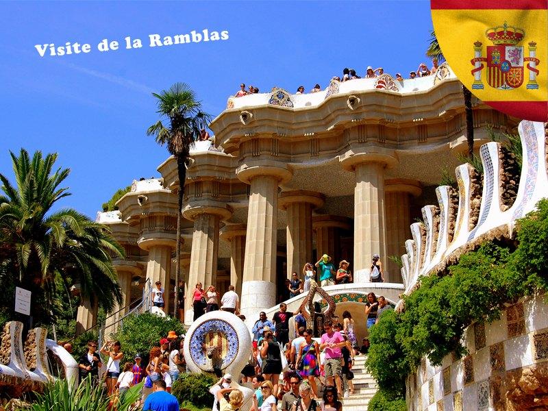 Visite de la rambla en colonie de vacances en Espagne cet été