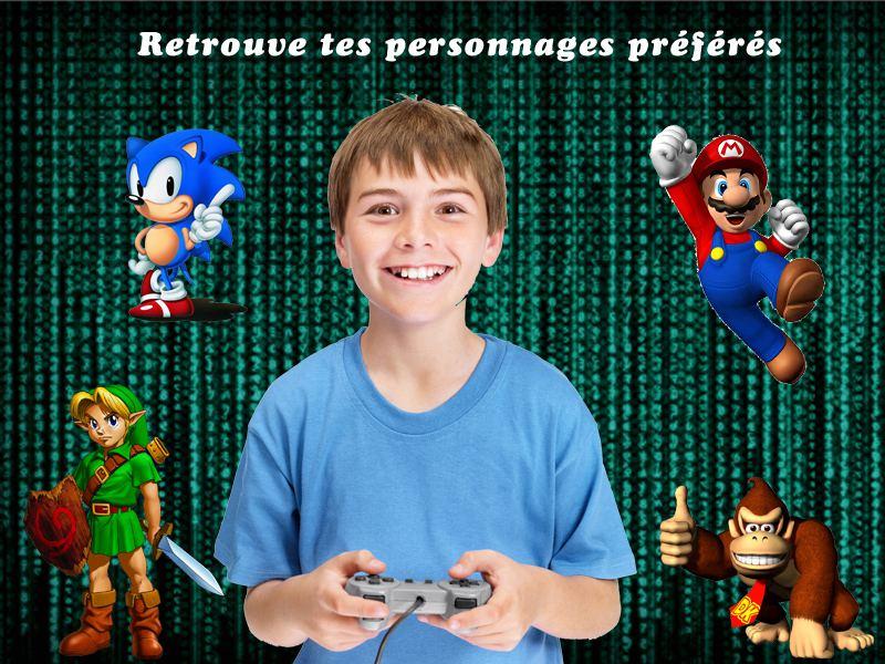 Jeune garçon jouant à la console avec ses personnages préférés en colo geek