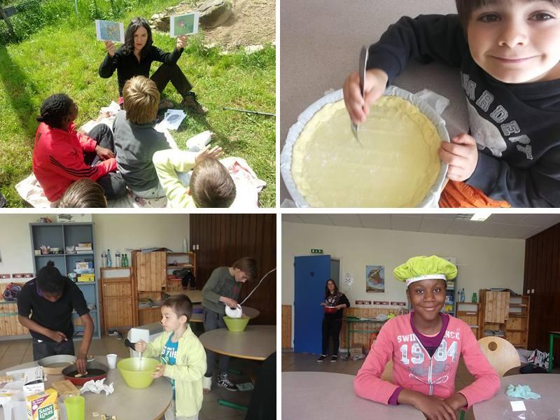 Enfants apprenant à cuisiner en colonie de vacances cuisine été