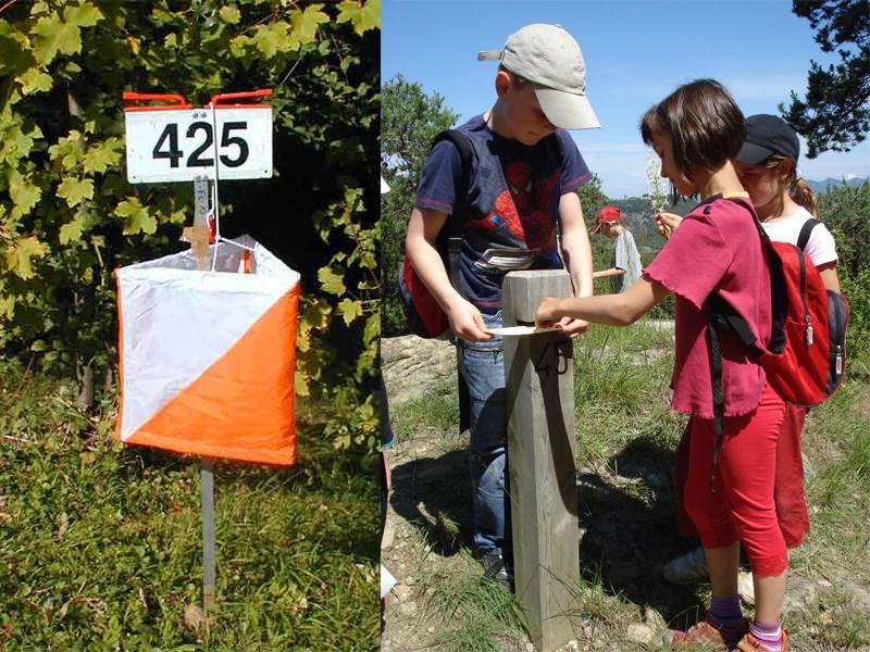Enfants faisant une course d'orientation en colonie de vacances à la campagne