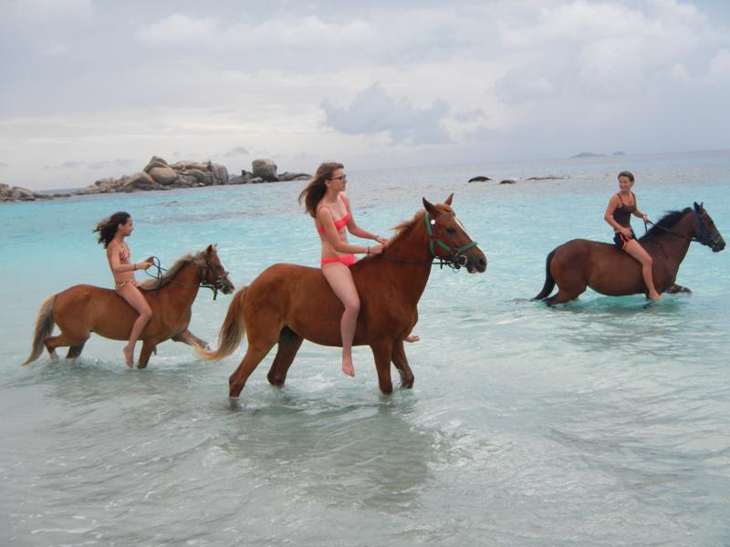 Ados en balade à cheval au bord de la mer en colonie de vacances en Corse
