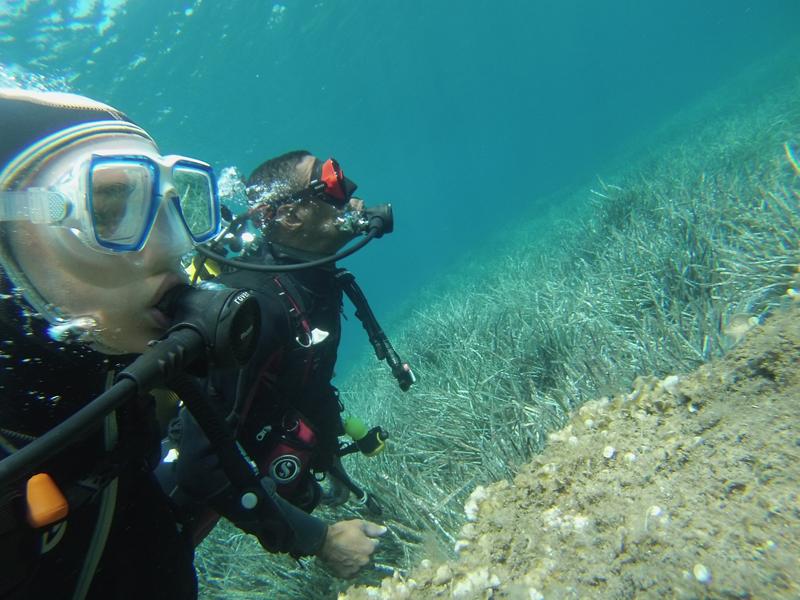 Jeune fille apprenant la plongée sous marine en colonie de vacances en Corse