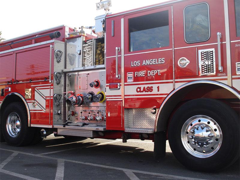 Camion de pompier à Los Angeles en colonie de vacances