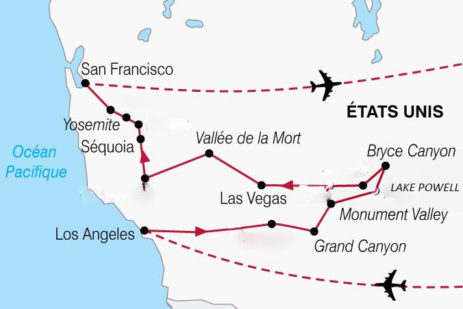 Itinéraire colonie de vacances en Californie