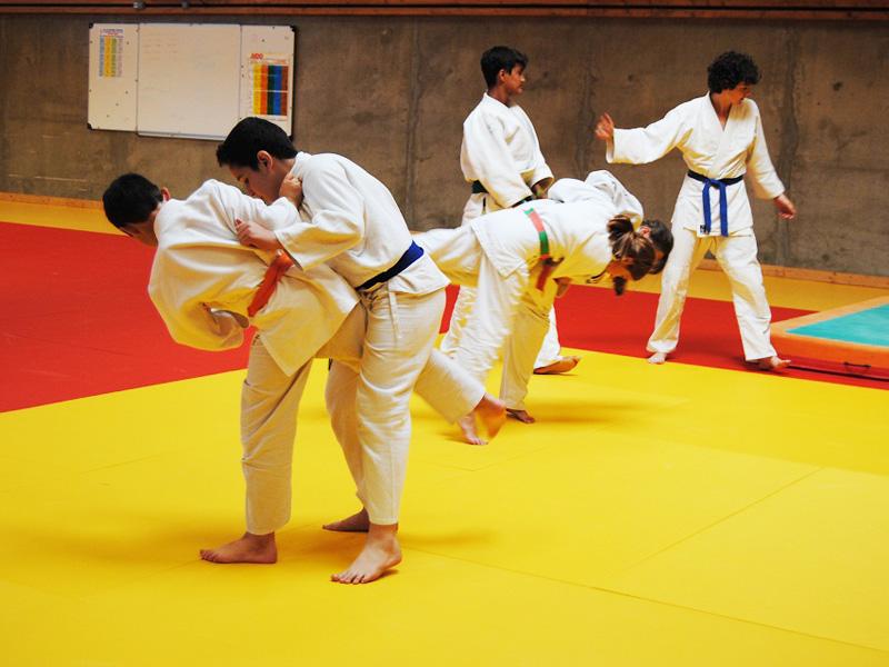 Adolescents faisant du judo en stage sportif cet été