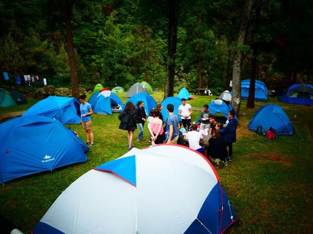 Enfants et ados dormant en bivouac en colonie de vacances cet été aux açores