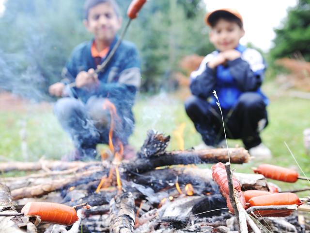 Deux enfants faisant griller des saucisses sur le feu de camp en colonie de vacances