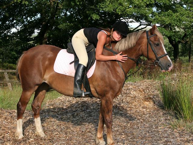 Adolescente avec son cheval en colo été