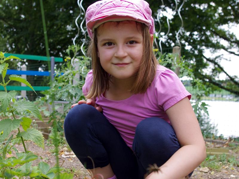 Fillette apprenant à jardin en colonie de vacances à la ferme