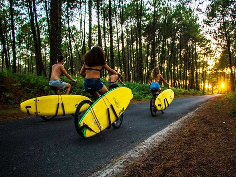 groupe d'adolescentes avec leur planche de surf en colo
