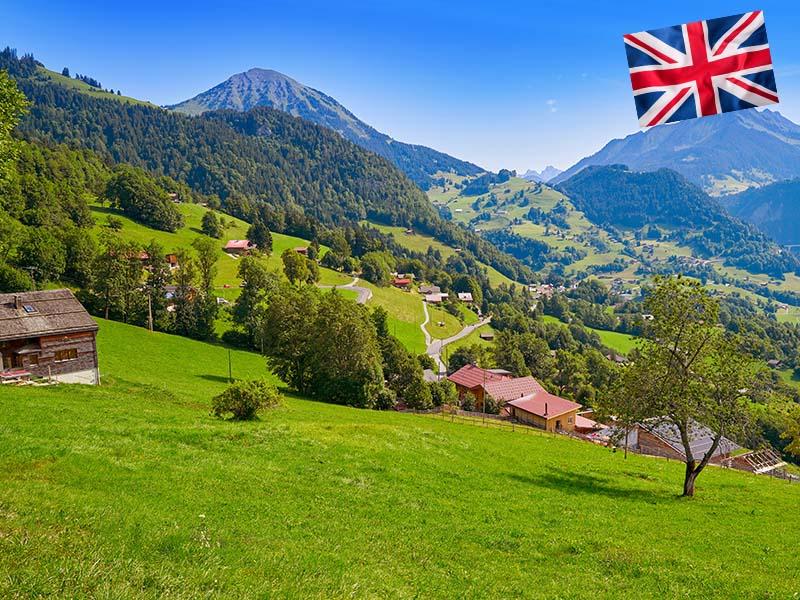 Paysage de la Suisse lors du stage linguistique d'anglais
