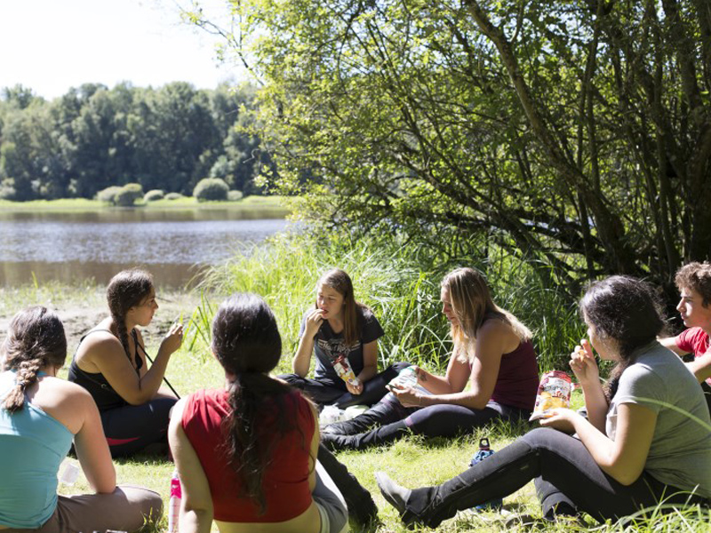 adolescents en pique nique cet été en colo à la campagne