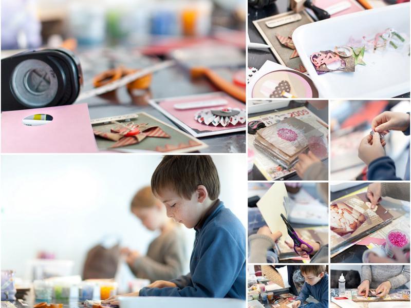 Enfants faisant du scrapbooking en colonie de vacances d'été artistique