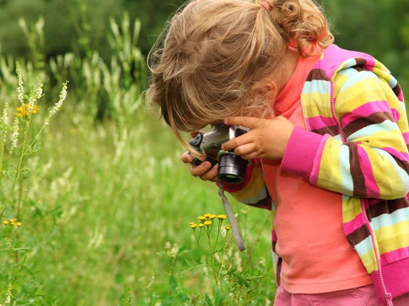 fillette prenant en photo des fleurs du jardin en colonie