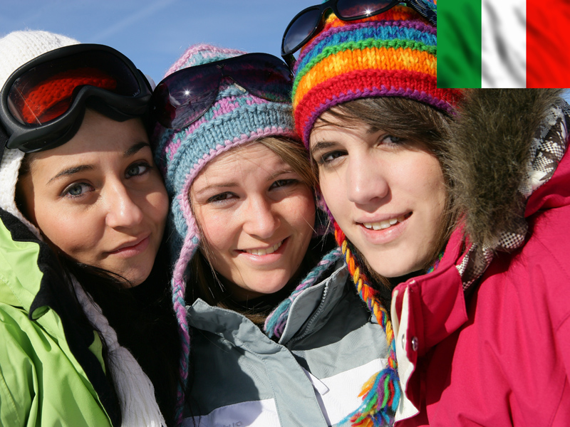 Portrait d'adolescentes sur les pistes de ski de Bardonecchia