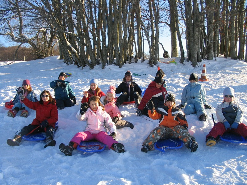 Groupe d'enfants apprenant à faire de la luge en colo