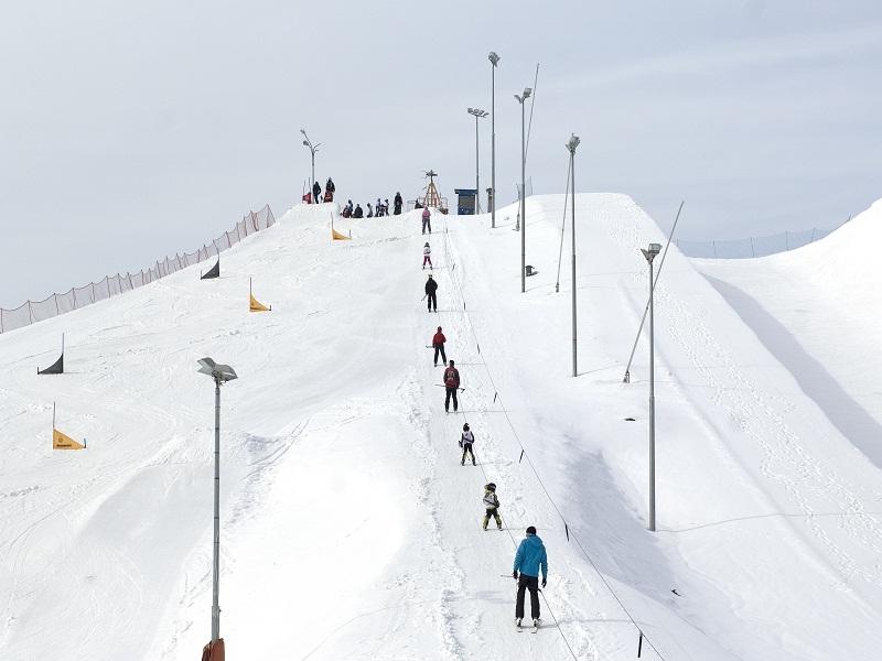 Adolescents faisant de la descente en ski