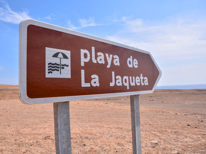 Panneau de signalisation de playa de Jaqueta aux Canaries en colonie de vacances
