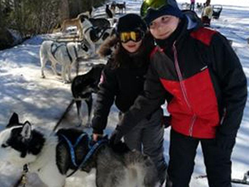 Adolescents en colonie de vacances chiens de traîneaux