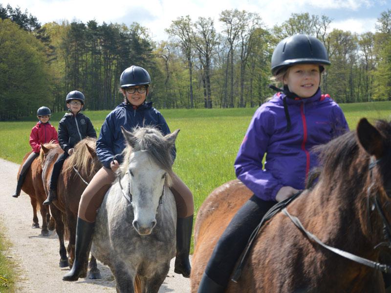 Groupe d'enfants en balade à cheval en colonie de vacances