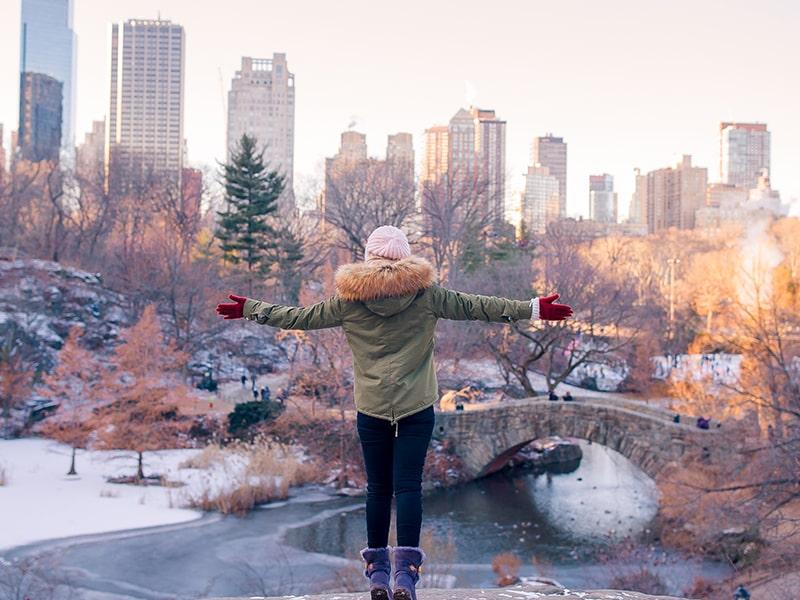 Central park pendant l'hiver avec une ado pendant une colonie de vacances à New York