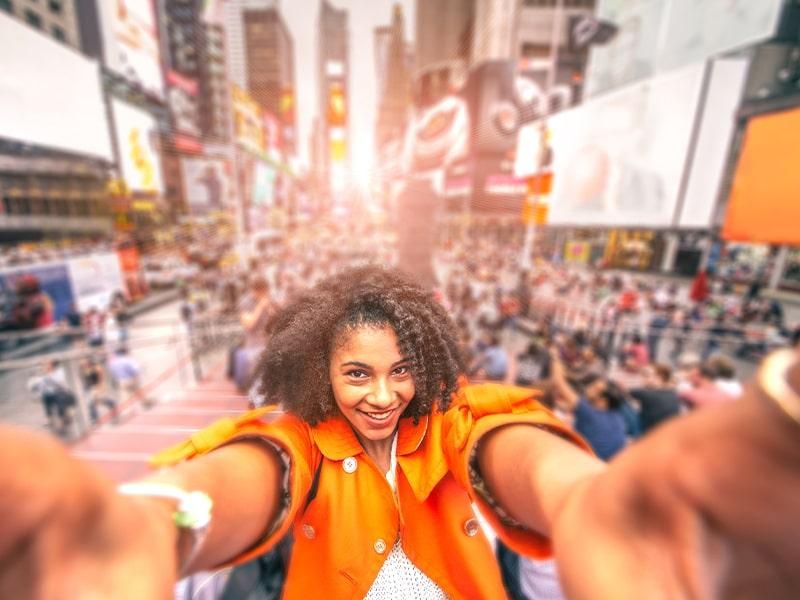 Vue sur les rues de Times Square lors d'une colonie de vacances à New York