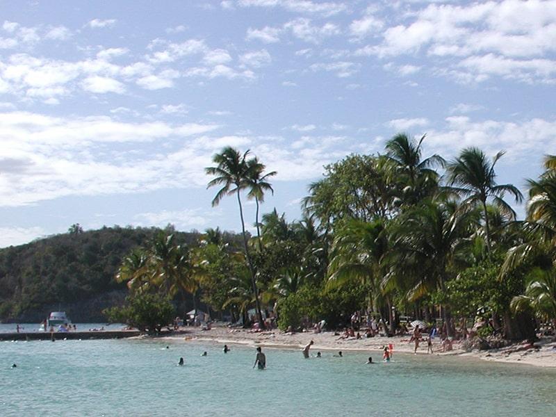 Vue sur les baigneurs et une plage ensoleillée en Guadeloupe lors d'une colonie de vacances en hiver