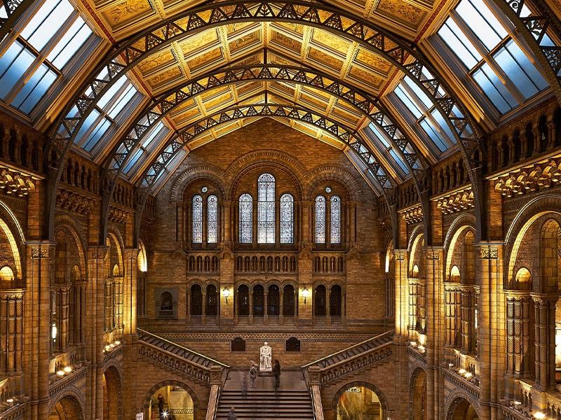 Vue de l'intérieur d'un musée londonien en colonie de vacances
