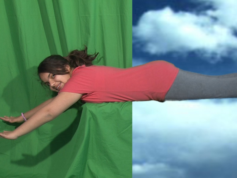 Jeune fille faisant du montage sur fond vert en colonie de vacances cinéma à la montagne