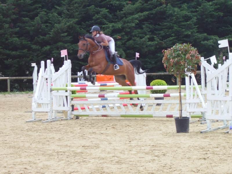 Adolescents pratiquant le saut d'obstacles avec leur cheval en colo