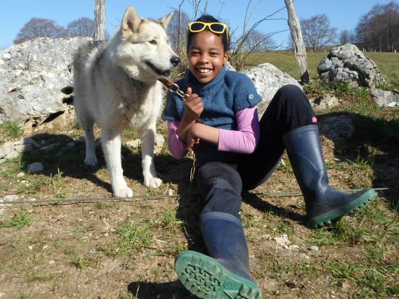 Enfant avec son chien en canirando à la campagne