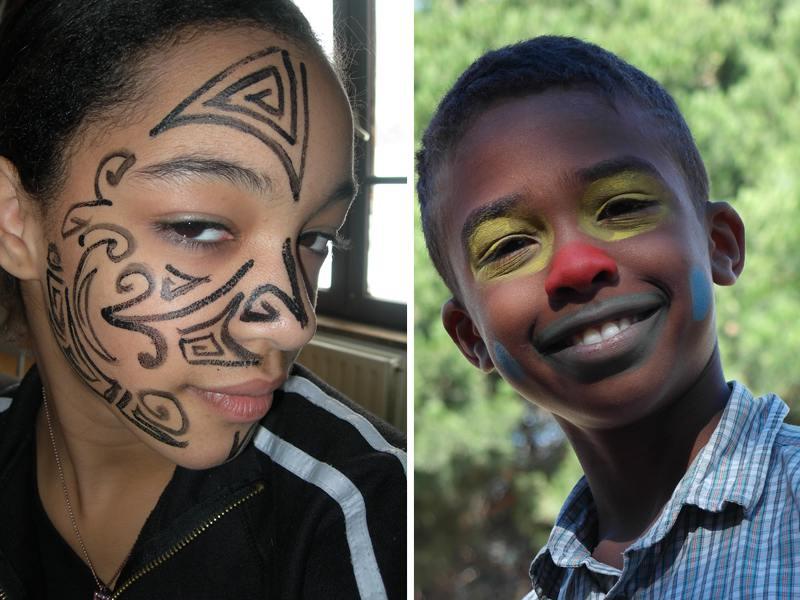 portrait d'enfants avec un maquillage artistique fait en colo