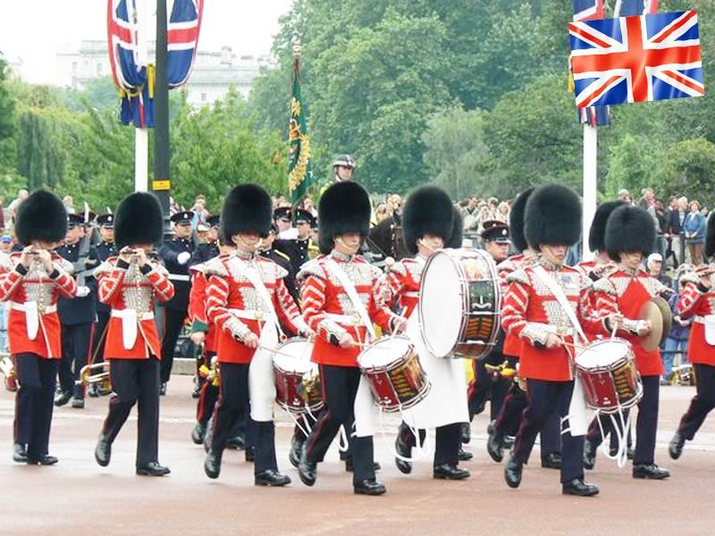 Relève de la garde royale de Londres en séjour linguistique