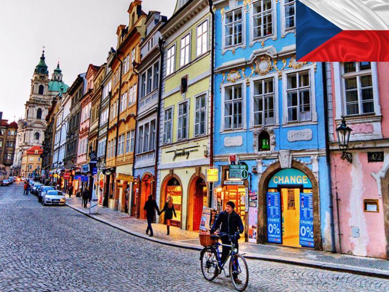 Façades colorées de Prague en République Tchèque