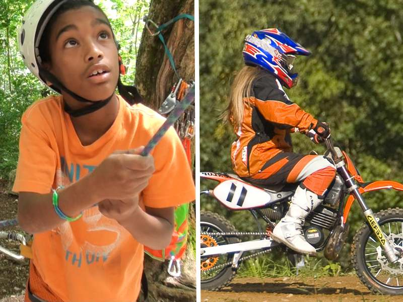 Enfants pratiquant l'escalade et la moto cross en colonie de vacances