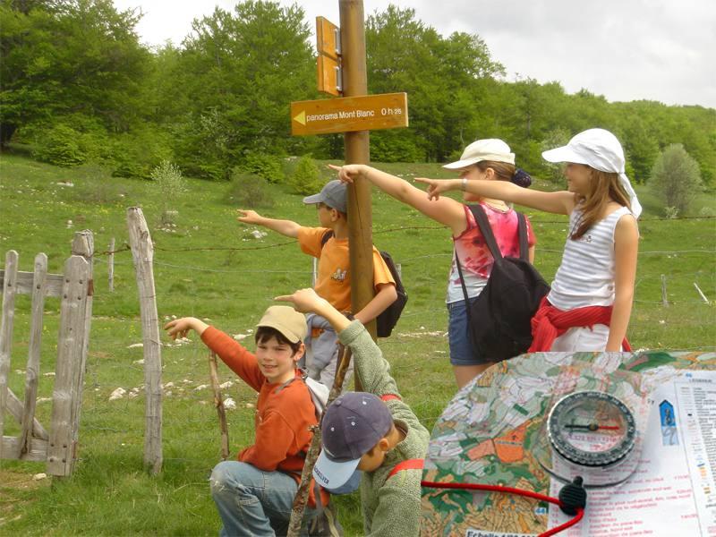 Enfants en course d'orientation en colo