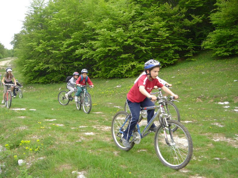 Enfants en balade à vélo en colonie de vacances Djuringa Juniors