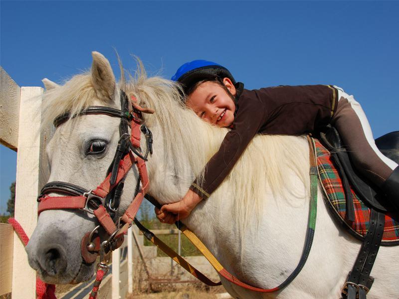 Enfant de 8 ans et son poney en colonie de vacances