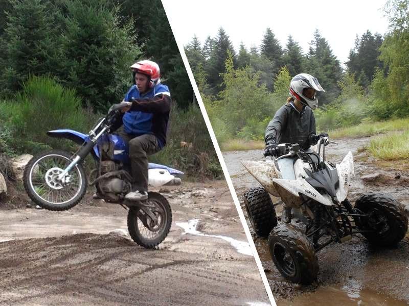 Ados faisant de la moto et du quad en colo