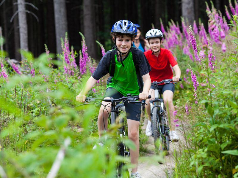 Enfants faisant du vélo en randonnée en colonie de vacances d'été