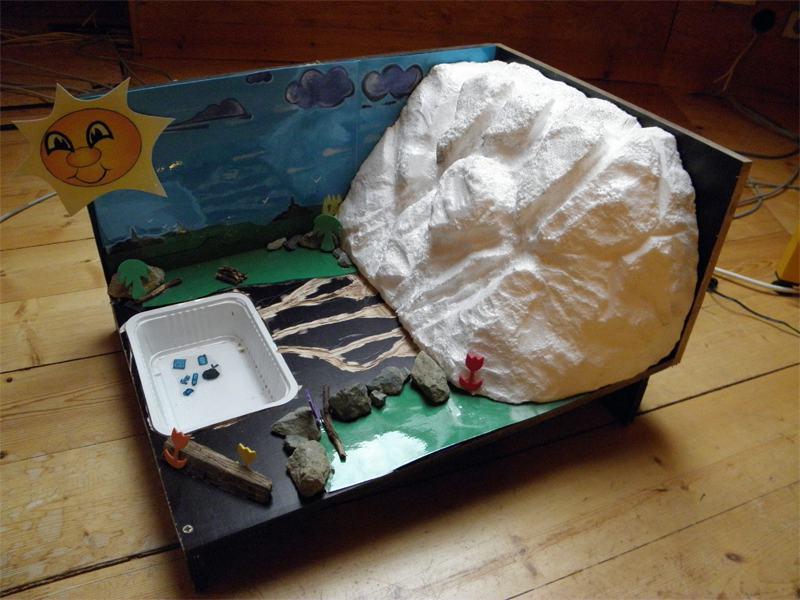 Maquette d'une expérience scientifique pour comprendre le cycle de l'eau en colonie de vacances