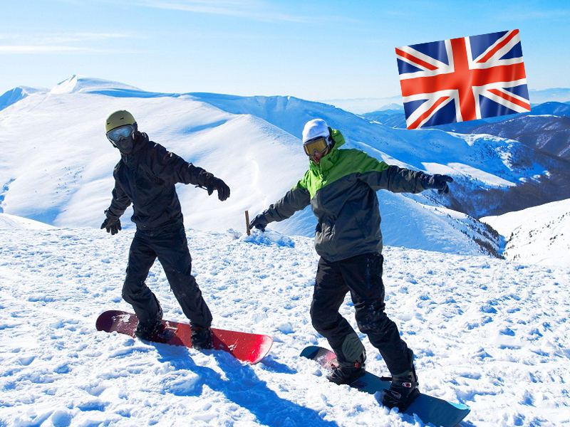 Ados en snowboard sur les pistes de Courchevel